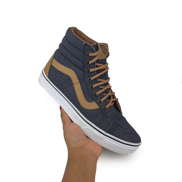 8e01f1b583 Vans Women's Sk8-Hi Navy Denim C&L Tan Sneaker | 8